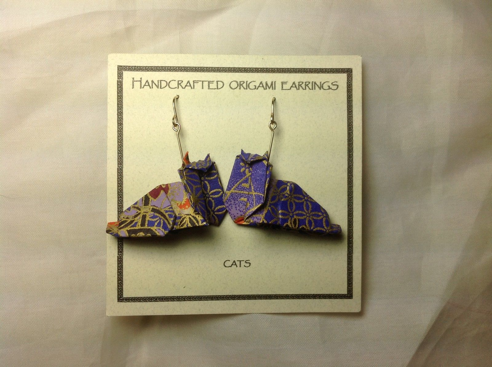 Handcrafted Real Gold Purple Origami Cat Dangling Earrings
