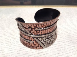 Handcrafted Pewter Based Metal Brass Hammered Wide Cuff Bracelet Relief