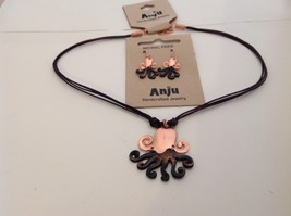 Handcrafted Pewter copper accent hammered Octopus necklace earring set