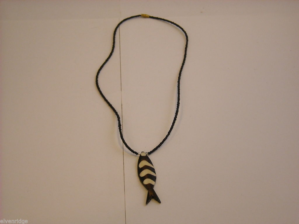 Handcrafted Wooden Fish Pendant Beaded Necklace