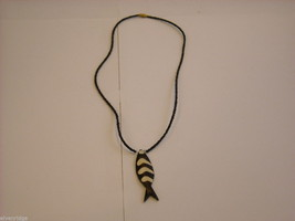 Handcrafted Wooden Fish Pendant Beaded Necklace image 1