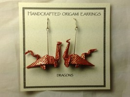 Handcrafted Real Gold Red Origami Dragon  Dangling Earrings image 1