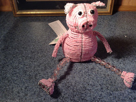 Handcrafted Pink Beadworx Pig Wire Sculpture Grass Roots Measurements Below image 1