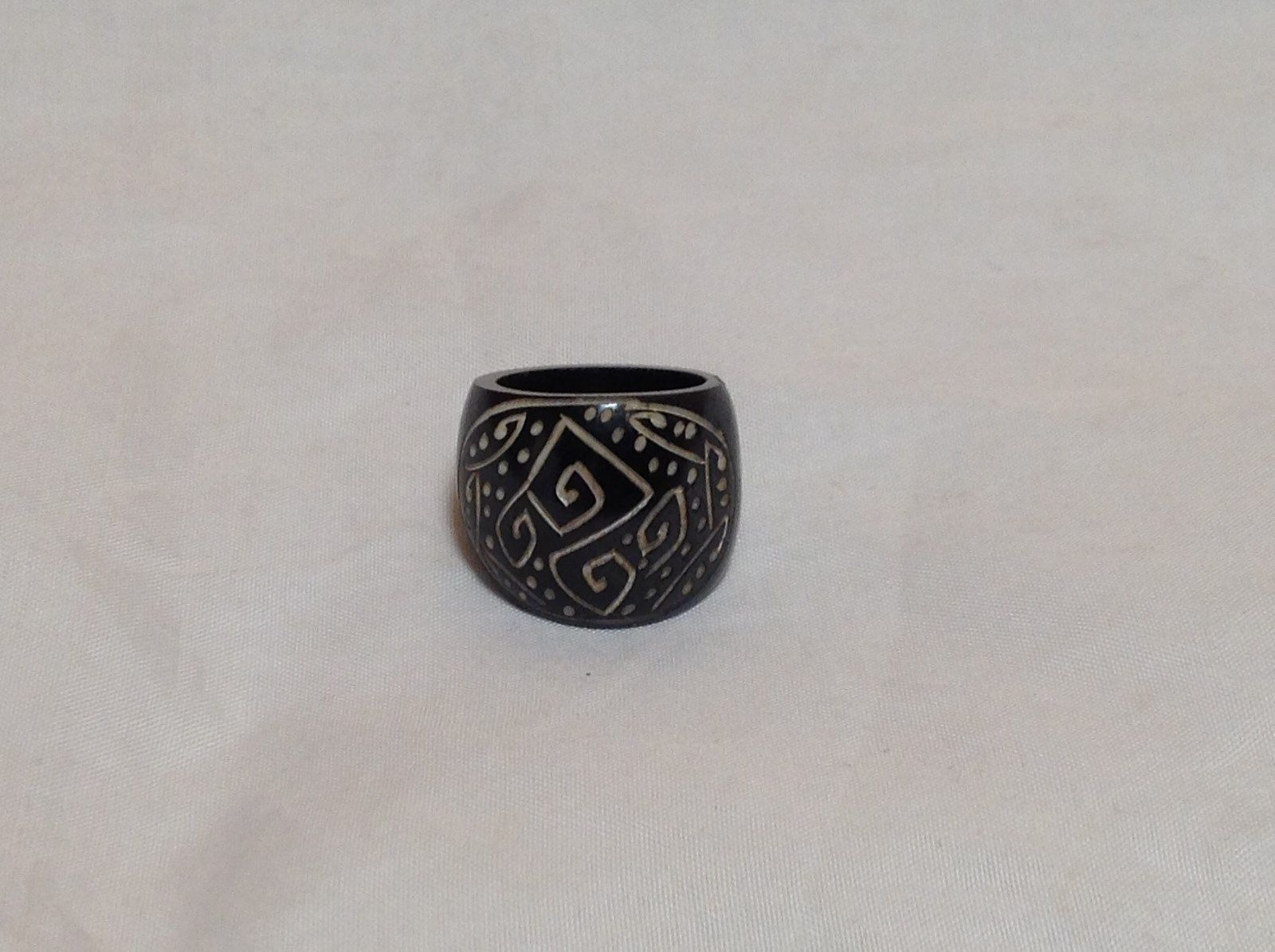 Handcrafted Zig Zag Dotted Wide Band Wooden Ring Sizes 6.5 and 7.5