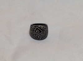 Handcrafted Zig Zag Dotted Wide Band Wooden Ring Sizes 6.5 and 7.5 image 1