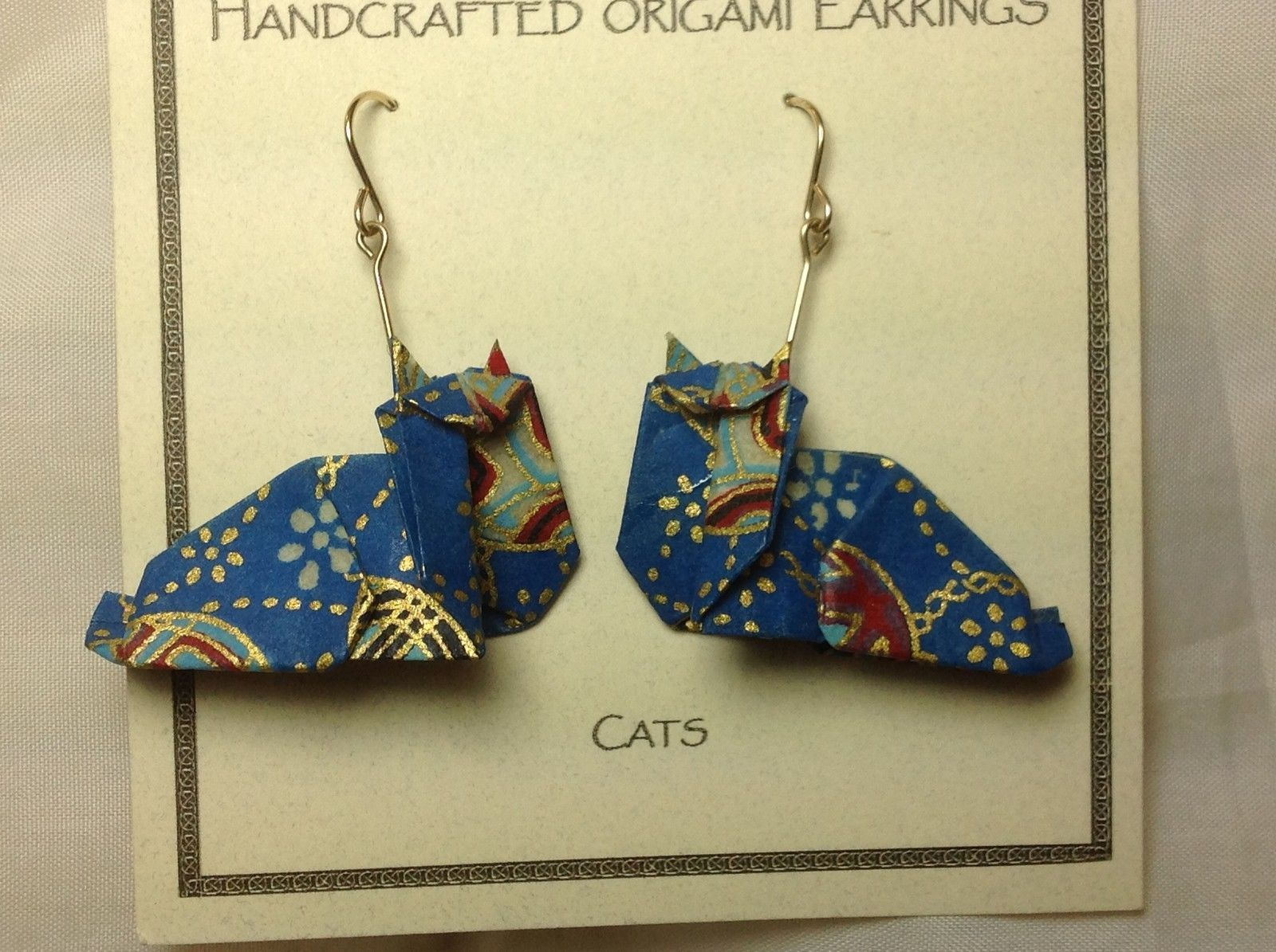 Handcrafted real gold origami crane blue cats dangling earrings