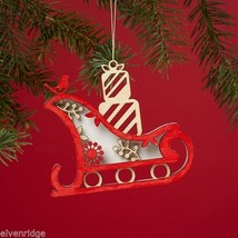 Laser Wood Ornament Flourish  Woodland Sleigh with presents
