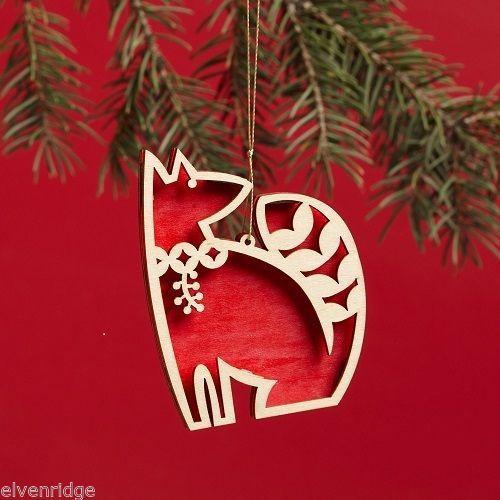 Laser Wood Ornament Flourish Red Fox