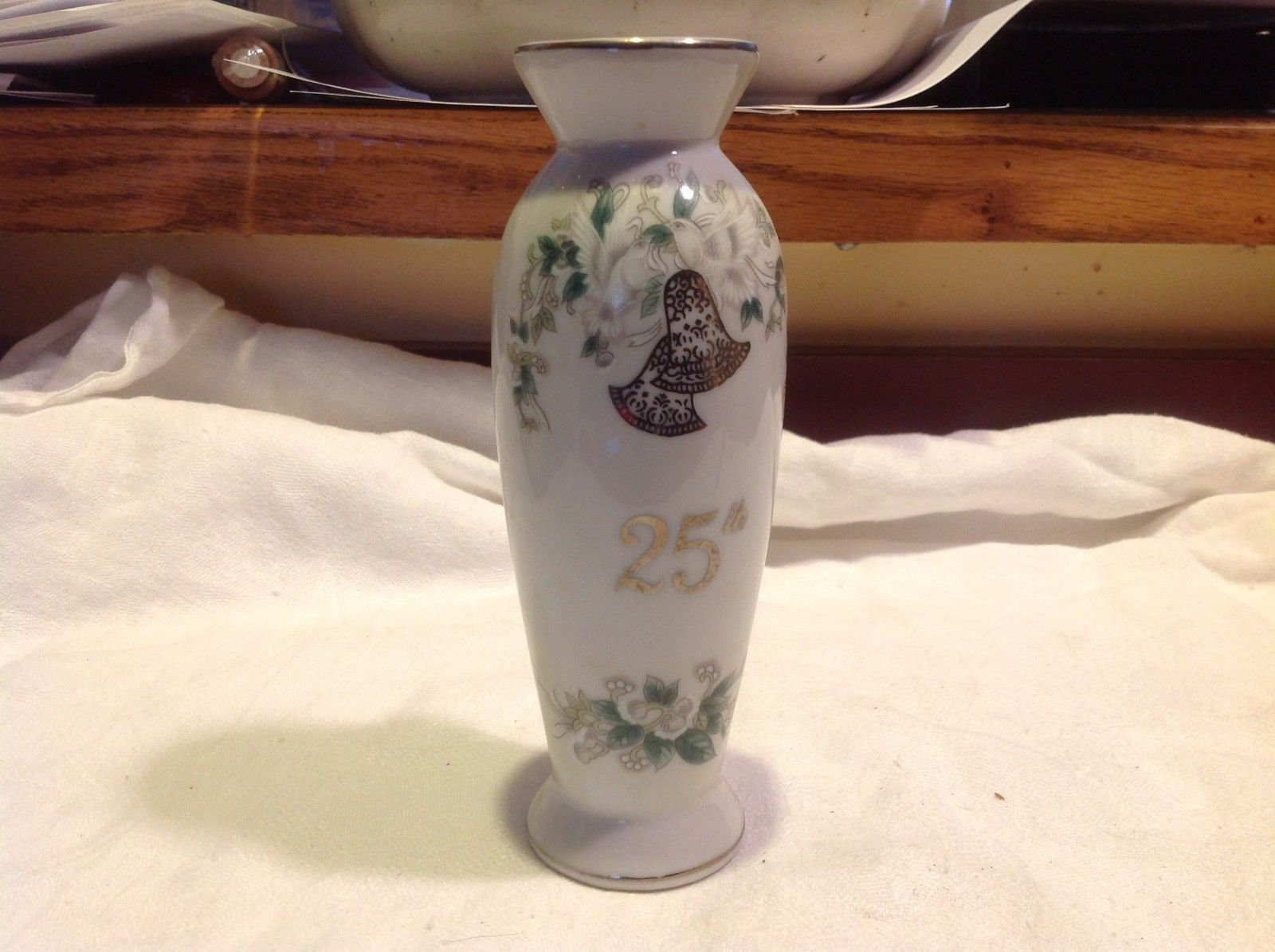 Lefton 25th Silver Anniversary overlay floral ceramic vase