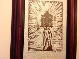 Guatemala artist woodcut framed hand made paper rustic primitive Amanecer image 4