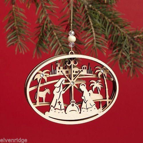 Laser Wood Ornament Flourish  Nativity
