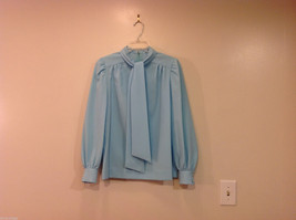 Handmade Baby Blue Long Sleeve Blouse Build-in Tie Bow , NO Size tag