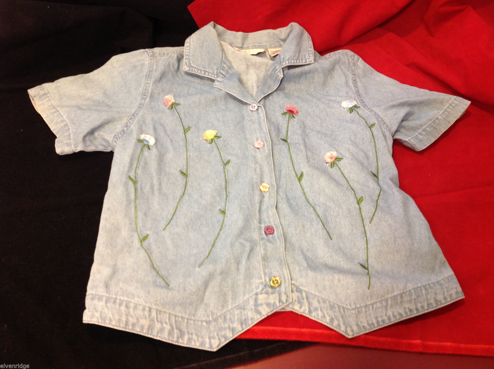 Lemon Grass Womens Denim Blouse Flower Design and Flower Shaped Buttons S Small