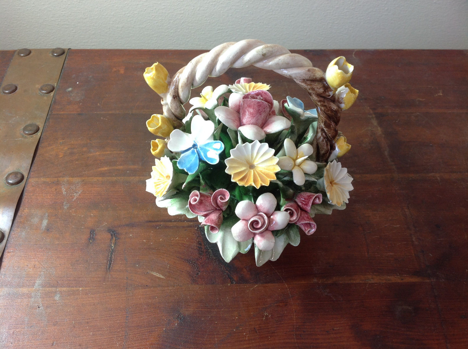 Handmade Ceramic Flower Basket with Intricate Ceramic Flowers Made in Italy
