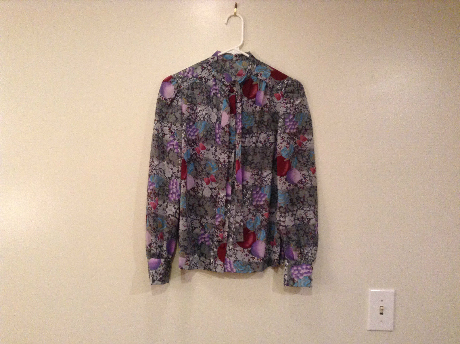 Handmade Blouse No Tags Gray with Flowers Fruits Side Slits Button Up Front
