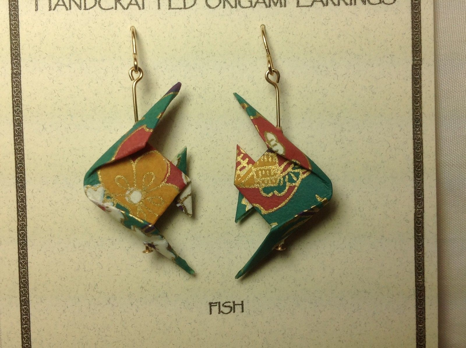 Handcrafted real gold origami crane teal fish dangling earrings