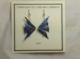 Handcrafted real gold origami crane blue earrings