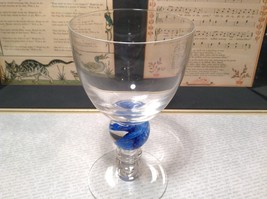 Handmade Glass Champagne or Wine Glass Marblesque Stem Blue Ribbed image 1