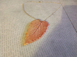 Handmade Flat Ceramic Tomato Leaf Pendant Necklace Sterling Silver Chain