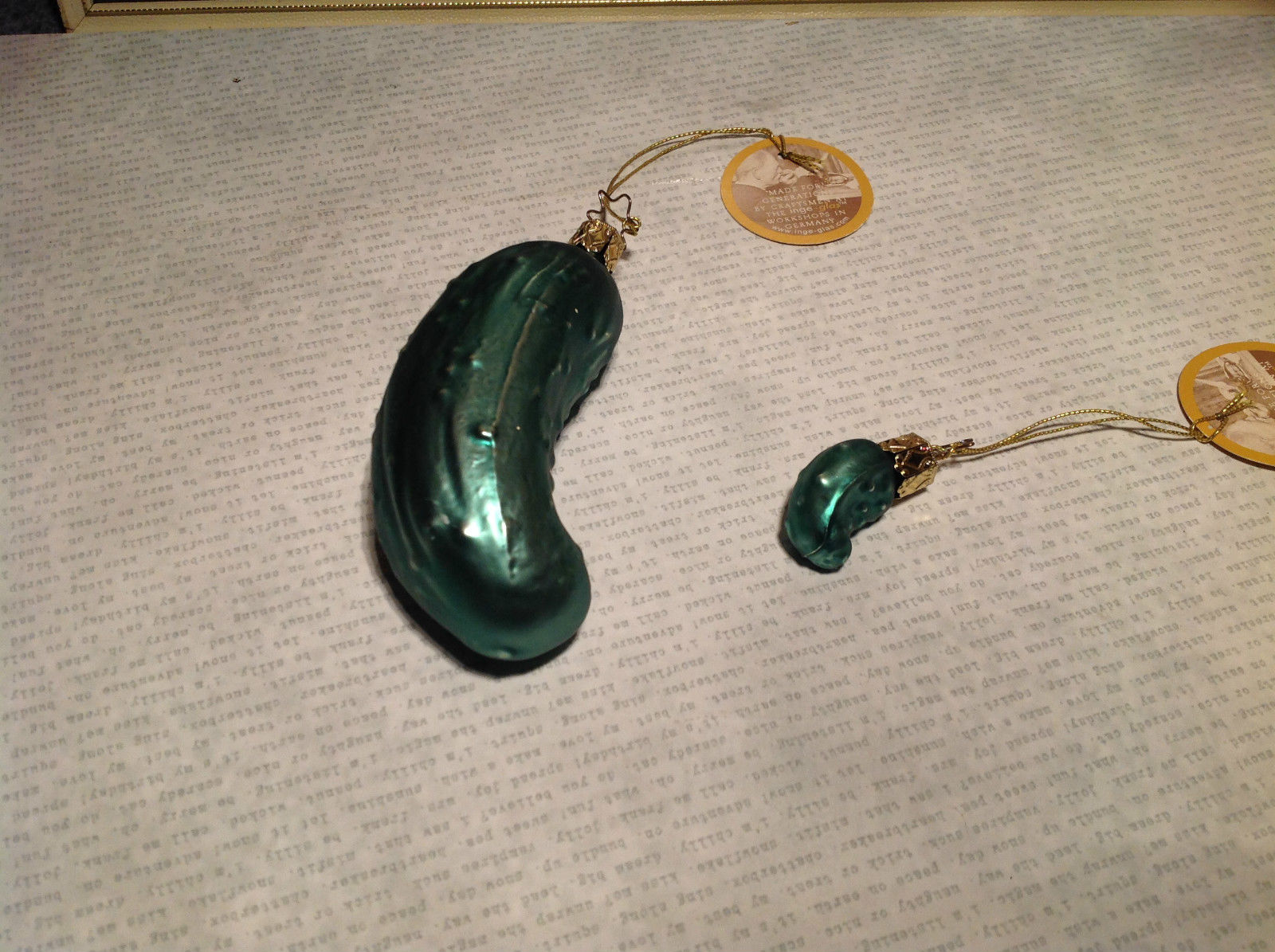 Handmade German 2 Piece Pickle Ornament Set Quality Heirloom