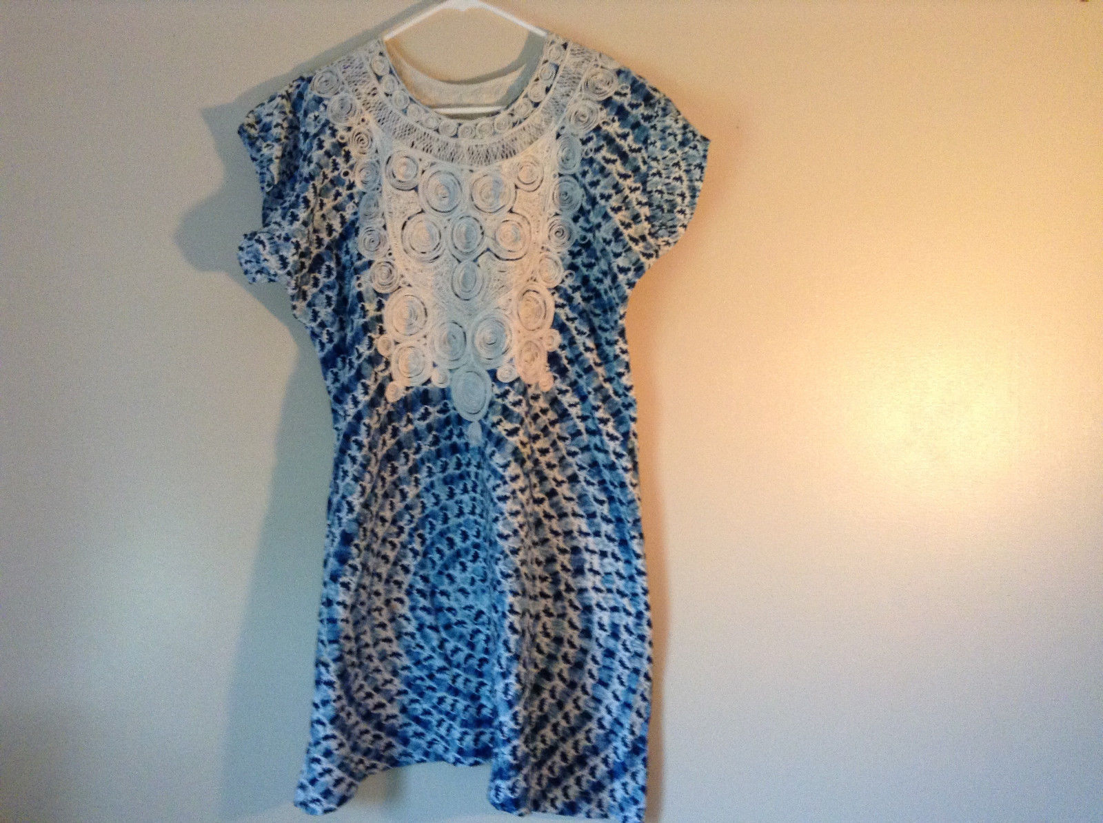Handmade Dress Blue with White Design and White Circles on Top NO TAG