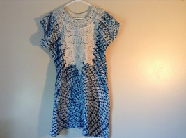 Handmade Dress Blue with White Design and White Circles on Top NO TAG image 1