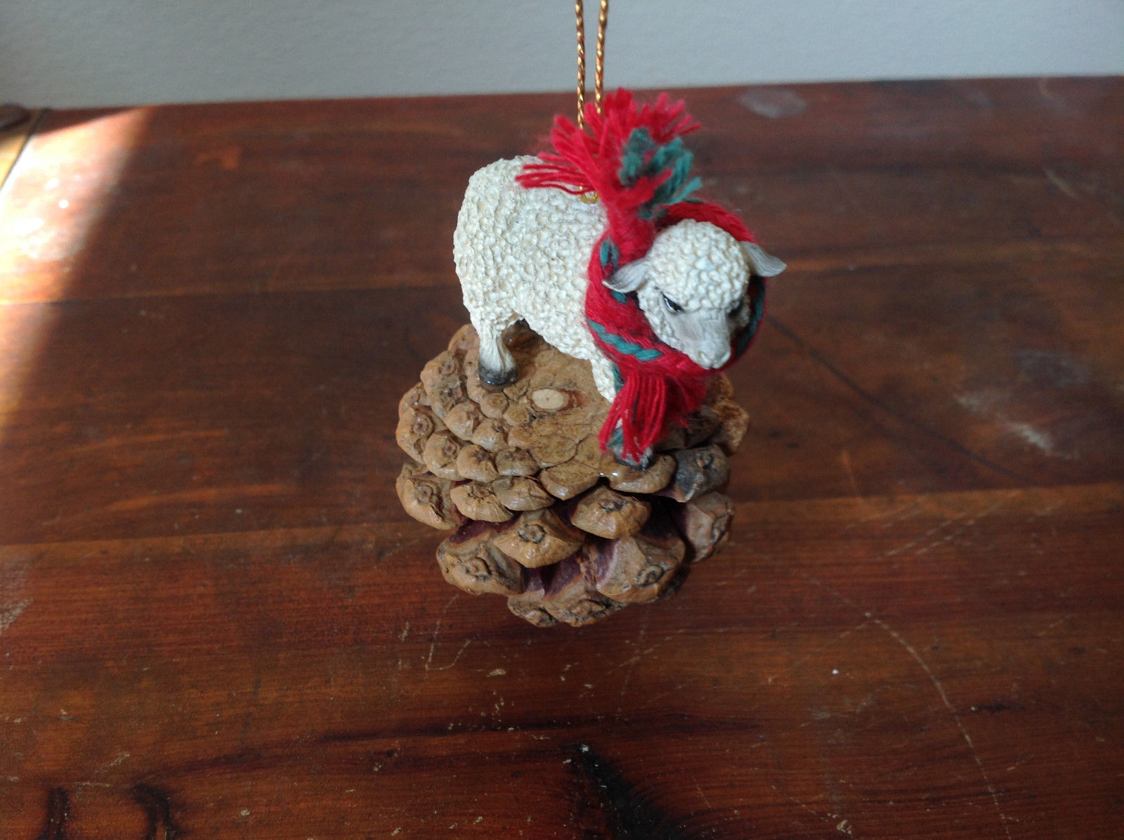 Handmade Pine Cone Pet Sheep with Scarf Ornament Real Pine Cone