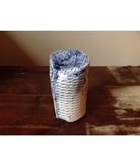 Handmade Round Tall Trinket Box Light Blue with Crisscross Etchings Vintage - $39.99