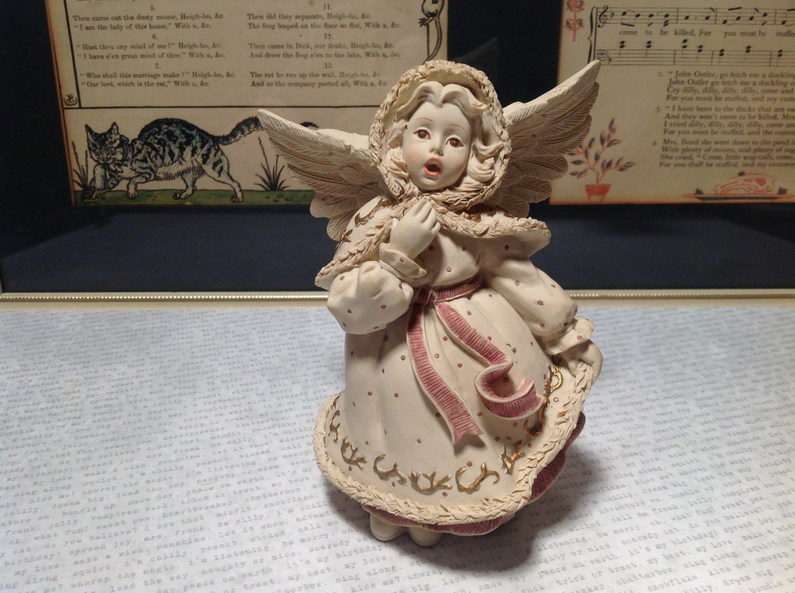 Handmade Resin Angel Girl Singing Alexandria Hand Painted Beige Red Gold Tone