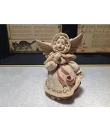 Handmade Resin Angel Girl Singing Alexandria Hand Painted Beige Red Gold... - $39.99