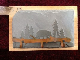 Handmade Slate Wood Coat Rack 3 Hooks Hand made Colorado bear pine trees image 1