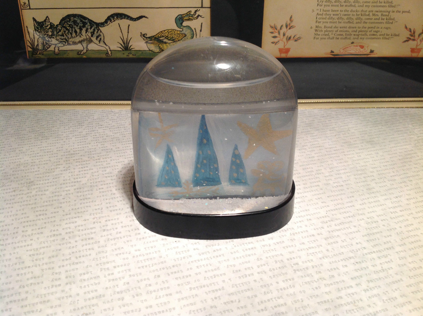 Handmade Snow Globe with Tree Scene with Stars Supports Artist