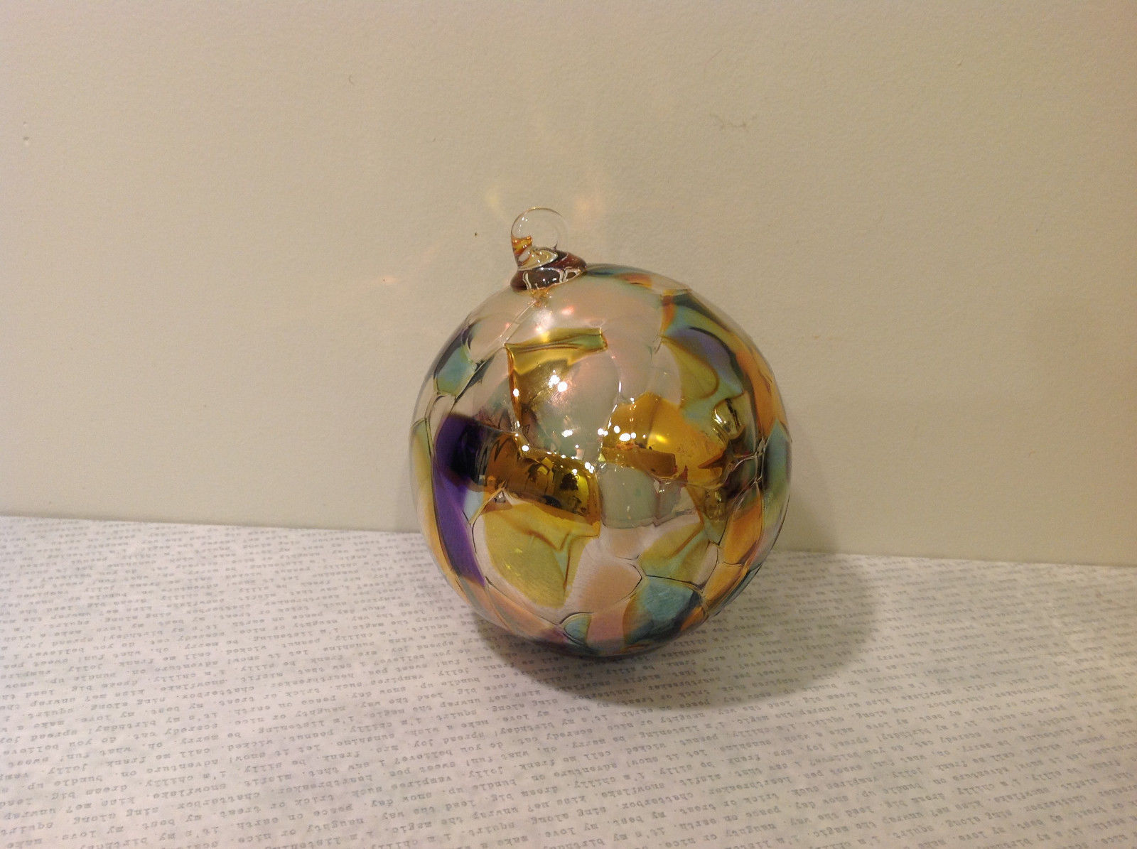 Handmade Recycled Glass Chirstmas Ball Ornament Very Beautiful