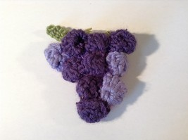 Handmade Knitted Pin Brooch Violet Purple Grapes Design image 1