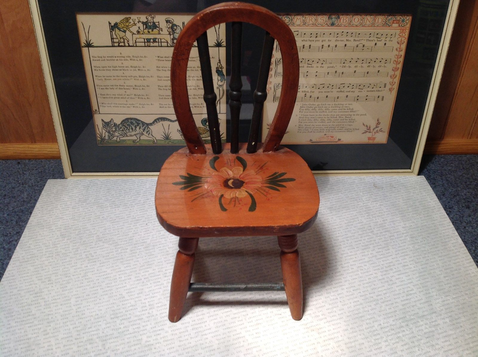Handmade Small Decorative Wooden Chair Flower on Seat