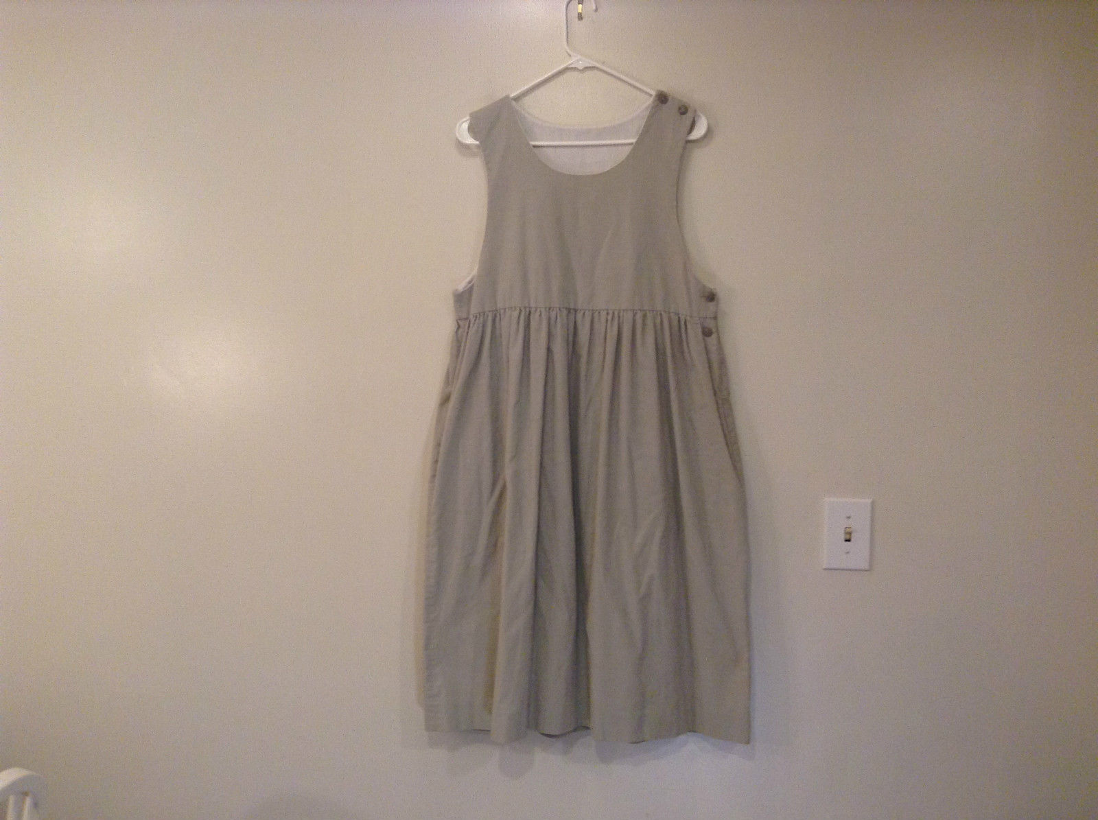 Handmade Sleeveless Dress 100 Percent Cotton Light Gray Measurements Below