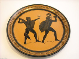 Handmade Terracotta Decorative Wall Platter Made in Greece Men in Battle