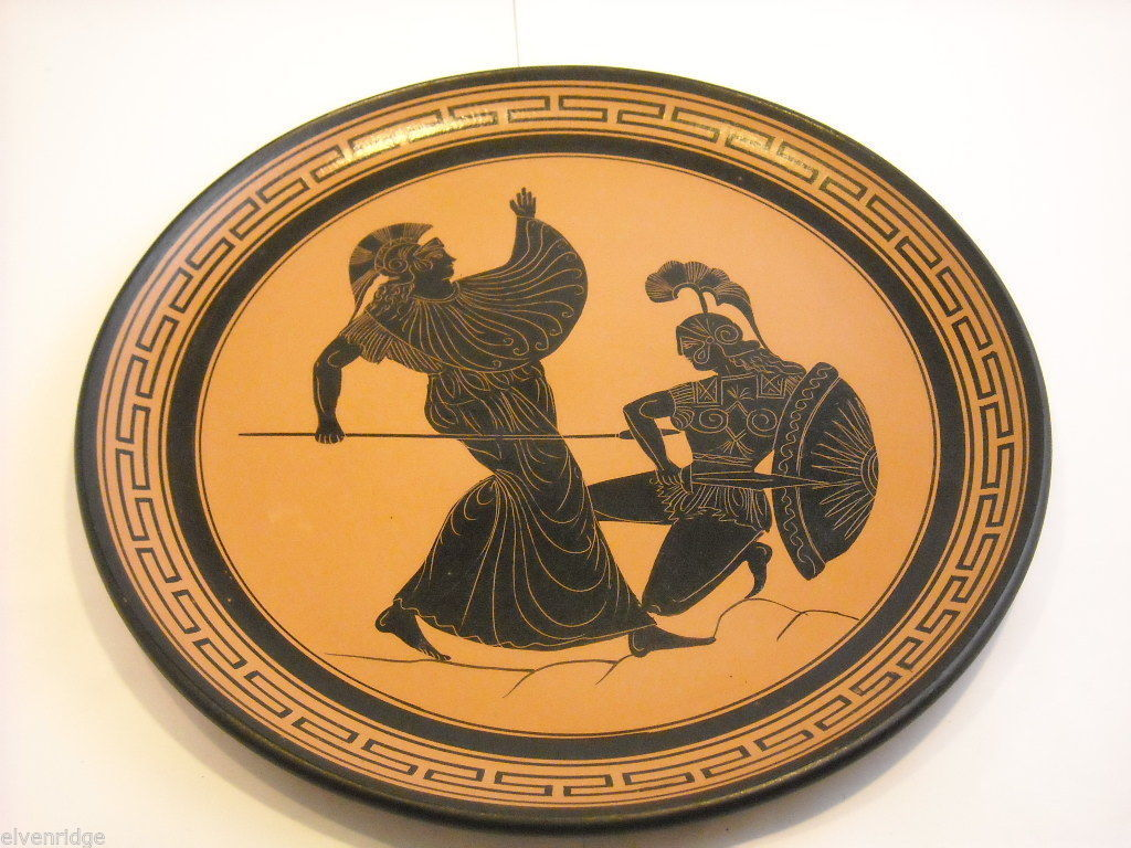 Handmade Terracotta Decorative Wall Platter Made in Greece Figures Fighting