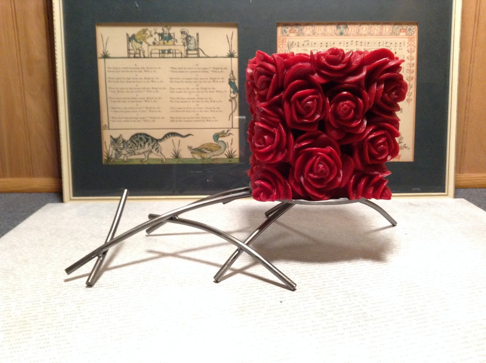 Primary image for Handmade Steel Candle Stand Artist Girardini Artistic Made in USA
