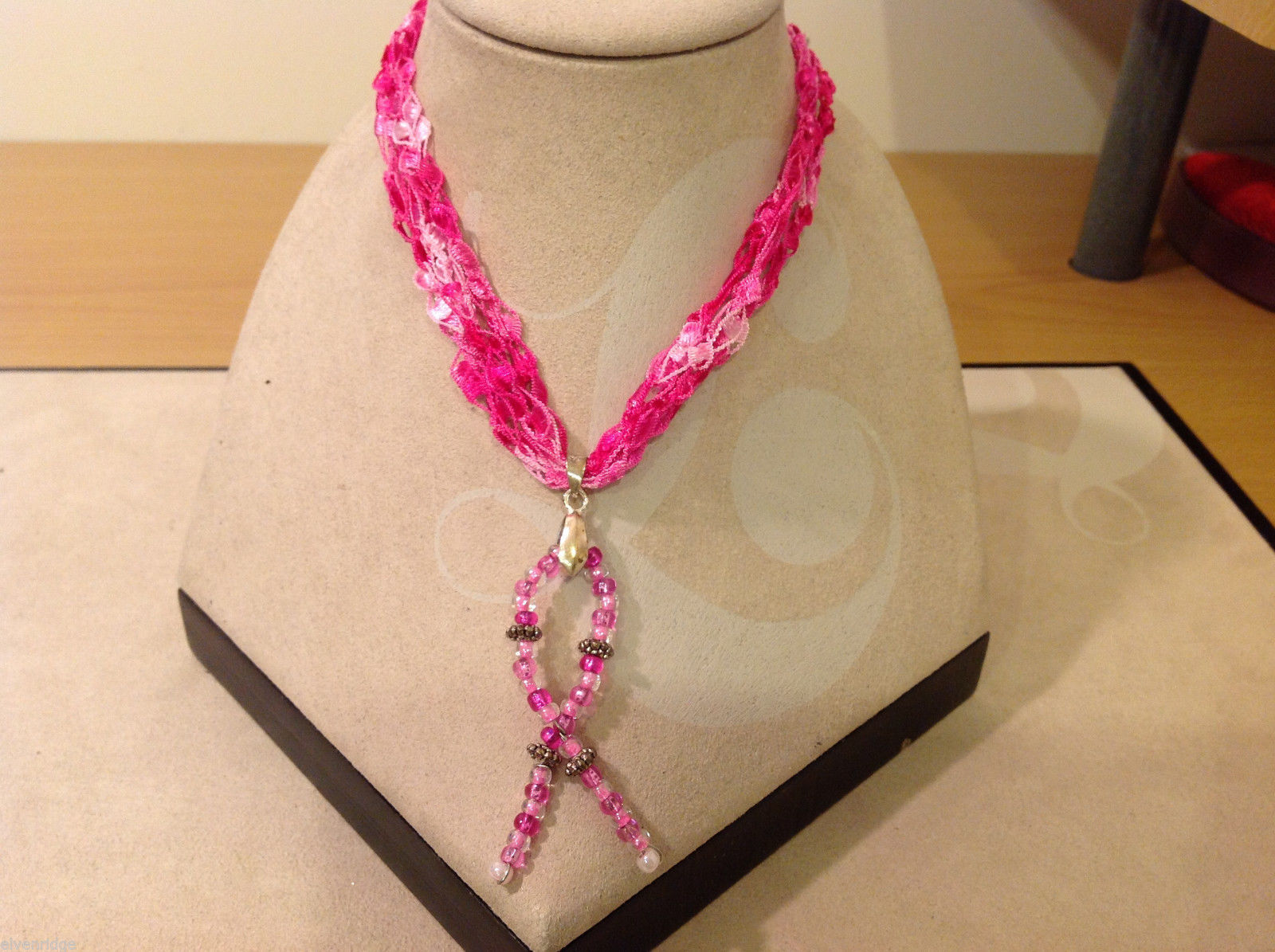 Handmade Pink Beads Breast Cancer pendant on fabric pink thread cord necklace