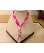 Handmade Pink Beads Breast Cancer pendant on fabric pink thread cord nec... - $39.99