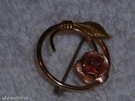 Krementz yellow & rose gold flower circle pin delicate image 4