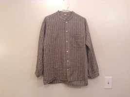 Handmade Size Large Long Sleeve Button Up Shirt Gray with Black and Red Stripes