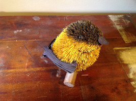 Handmade Yellow Bird Buri Palm Fiber Brush Decoration Eco Fiber Sustainable