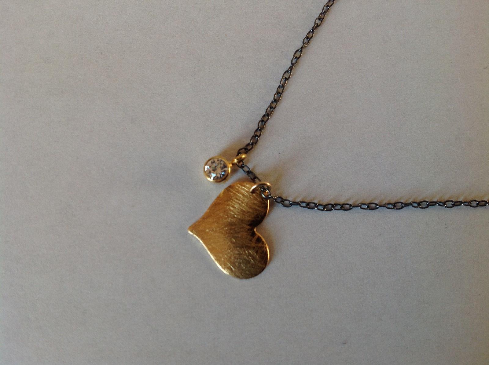 Handmade Zina Kao Flat Heart w CZ Bezel set Charm Necklace Gold w Black Chain