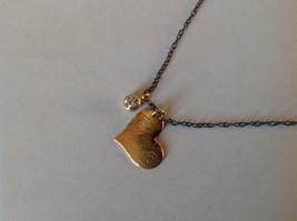 Handmade Zina Kao Flat Heart w CZ Bezel set Charm Necklace Gold w Black Chain image 1