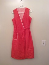 Handmade V Neck Sleeveless Summer Dress Red with White Polka Dots  Belt Tie Back