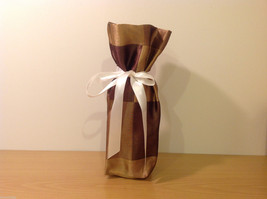 Handmade by Caroline Hallak NEW Personal Touch Gift Wine Bag Gold Brown