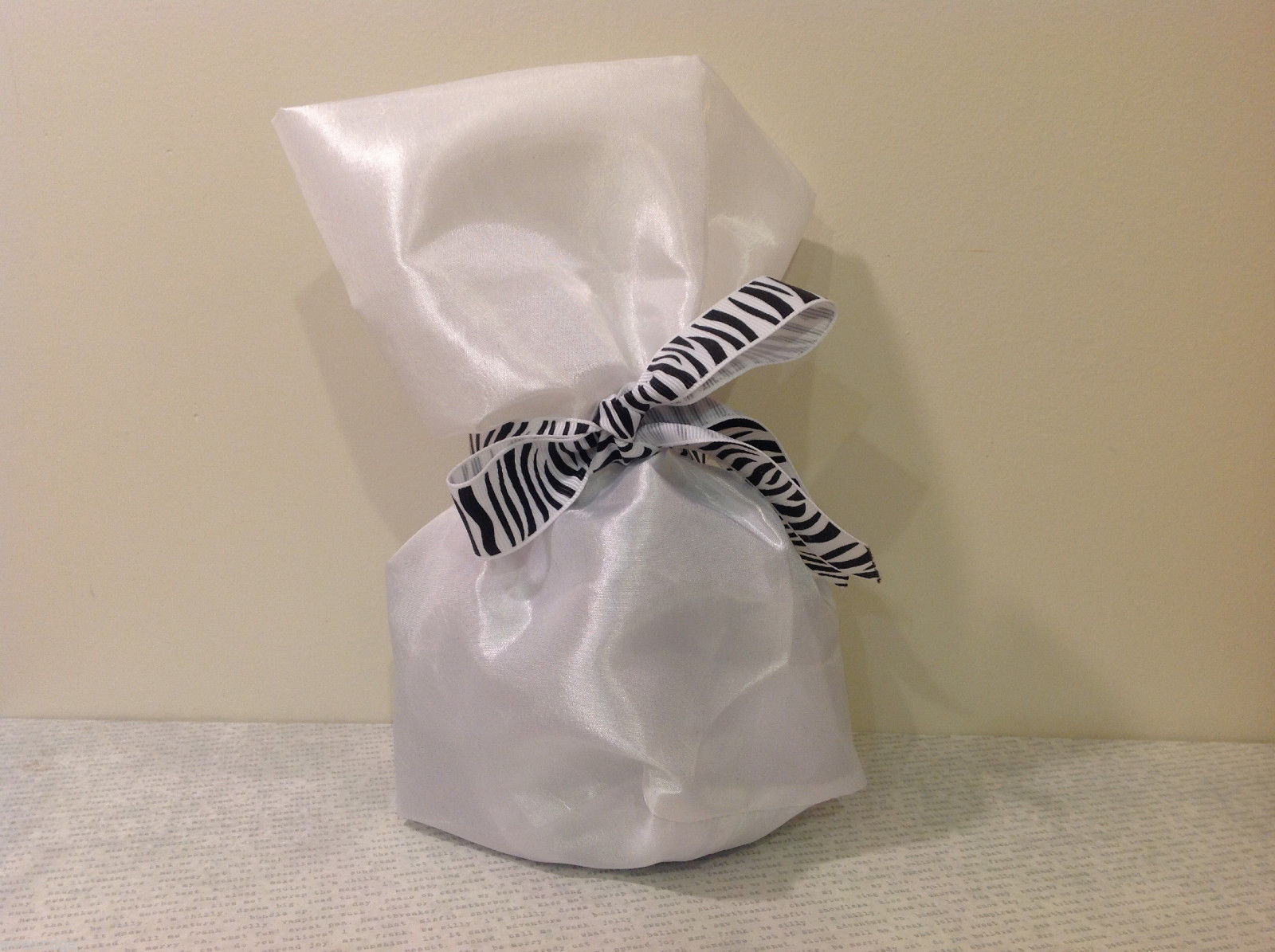 Handmade by Caroline Hallak Personal Touch Gift Bag Satin White