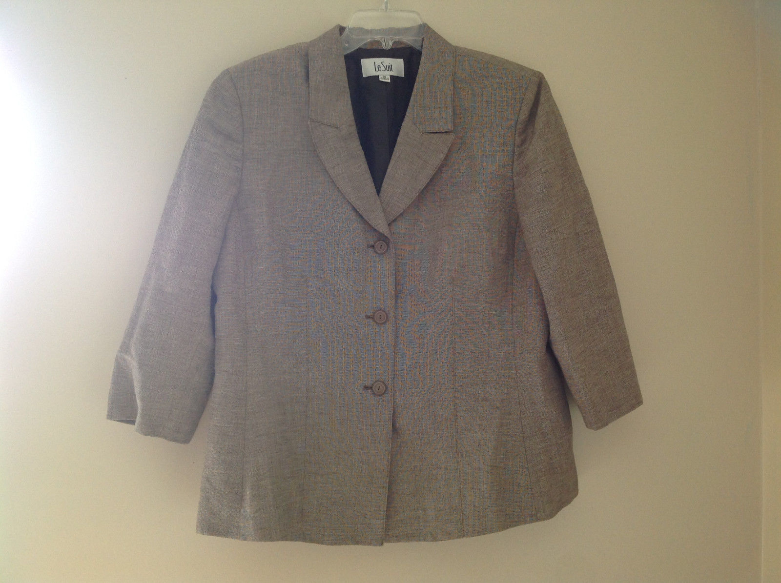 Light Brown Patterned Blazer Three Quarter Length Sleeves by Le Suit Size 16
